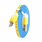 Little Flower Pattern Flat USB Sync Data & Charging Lightning Cable for iPhone 5 - Yellow (100CM)