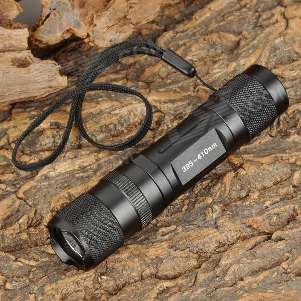 UniqueFire S10-UV 395~410nm Ultraviolet UV LED Flashlight - Black (1 x AA / 14500)