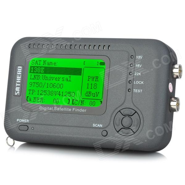 SatHero SH-200 2.6 DVB-S2 / DVB-S HD Digital Satellite Finder - Deep Grey + Silver satlink ws 6908 3 5 lcd dvb s fta data digital satellite signal finder meter