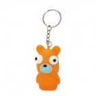 Pop Out Eyes Stress Reliever Relief Squeeze Bear Doll Toy Keychain - Orange