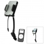 Fm transmitter charger w/ car charger / holder mount / remote control for iphone 4 / 4s / 5 - black