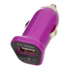 FIN-20 DC 5V 1.5A USB Car Charger for Iphone 4 / 4S / 5 / Samsung i9500 + More - Purple (DC 12~24V)