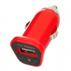 FIN-20 DC 5V 1.5A USB Car Charger for Iphone 4 / 4S / 5 / Samsung i9500 + More - Red (DC 12~24V)