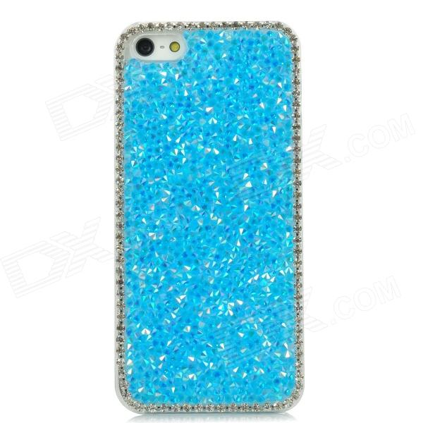 Fashion Protective Plastic Back Case w/ Shiny Rhinestone for Iphone 5 - Blue protective heart shape rhinestone decoration back case for iphone 5 brown