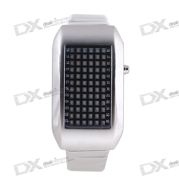 72-LED Red Light Matrix Stainless Steel Watch/Wristwatch (Silver)
