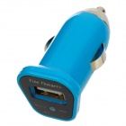 FIN-20 DC 5V 1.5A USB Car Charger for Iphone 4 / 4S / 5 / Samsung i9500 + More - Blue (DC 12~24V)