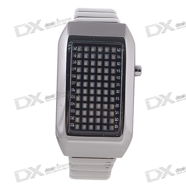72-LED White Light Matrix Stainless Steel Watch/Wristwatch (Black)