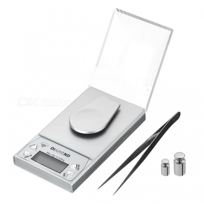 Digital Jewelry Scale - Silver (10g)Digital Scales<br>ModelN/AQuantity1 DX.PCM.Model.AttributeModel.UnitForm  ColorSilver WhiteMaterialN/ATypeOthers,N/AScreen SizeN/AMax. WeightN/AMin. WeightN/AUnitg,ct,ozDivision0.01gAuto Power OffYesPacking List1 * Piece<br>