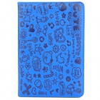 Cartoon Style Protective PU Leather Case for iPad Mini - Blue
