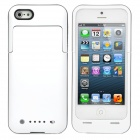 2000mAh Rechargeable External Battery Back Case for iPhone 5 - White + Silver