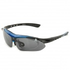 Outdoor Sports Cycling UV400 Protection Goggles w/ Replacement Lens - Blue + Black