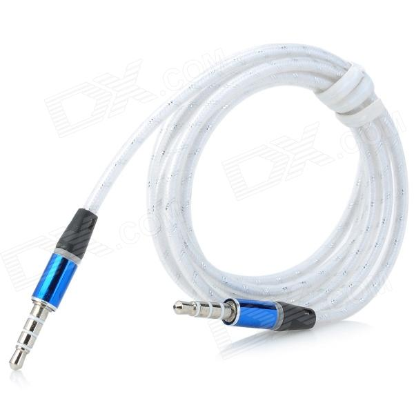 TPU 3.5mm TRRS Male to Male Audio Cable - White + Blue (124cm)