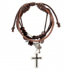 Fashion Cross Beaded Cow Leather Bracelet - Coffee