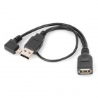 CY U2-165-LE Left 90 Degree Micro USB OTG Data Cable for Samsung i9100 / i9220 / i9300 - Black
