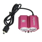 FandyFire X2 1200lm 4-Mode White Bicycle Light w/ 2 x Cree XM-L U2 - Deep Pink (4 x 18650)