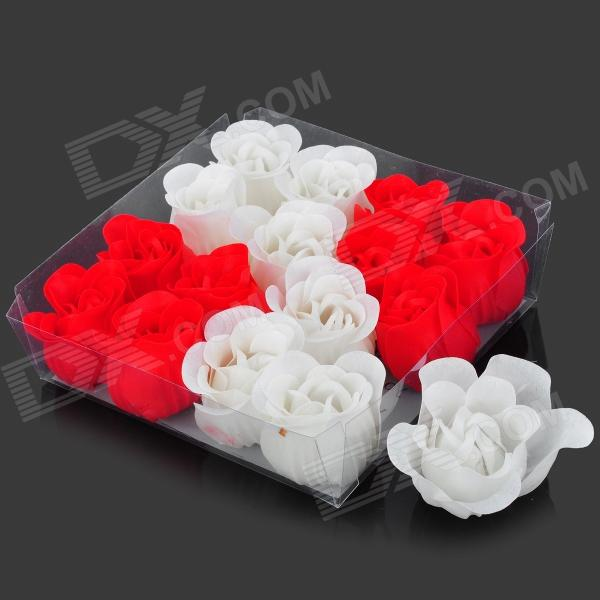 Square Shaped 16 Soap Roses - Red + White dirty soap and timed disappearing bloody soap bars 2 pack