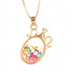 Perfume Bottle w/ Crystal Style Pendant Necklace for Women - Golden