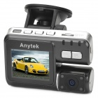 Anytek I1000 2.0 TFT 1.2MP CMOS Wide Angle Car DVR w/ 4-LED / TF - Black + Silver
