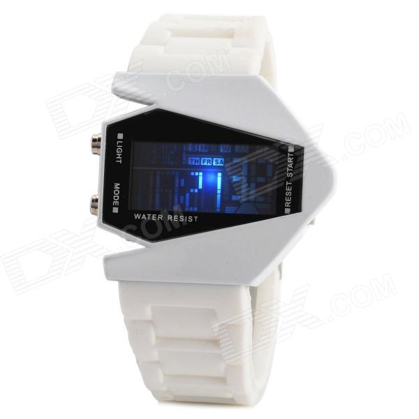 HZ-444B Creative Bomber Shape Dial Silicone Band Digital Wrist Watch w/ Calendar - White + Black
