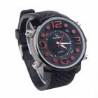 V6 SuperSpeed V0045B-R Faction Men's Quartz Silicone Band Wrist Watch - Black + Red