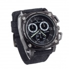 V6 SuperSpeed V0173-B Fashion Square Men's Linen Band Quartz Wrist Watch - Black
