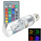 E27 1.5W LED RGB Light Crystal Column Light w/ Remote Control - Silver + Transparent (AC 85~265V)