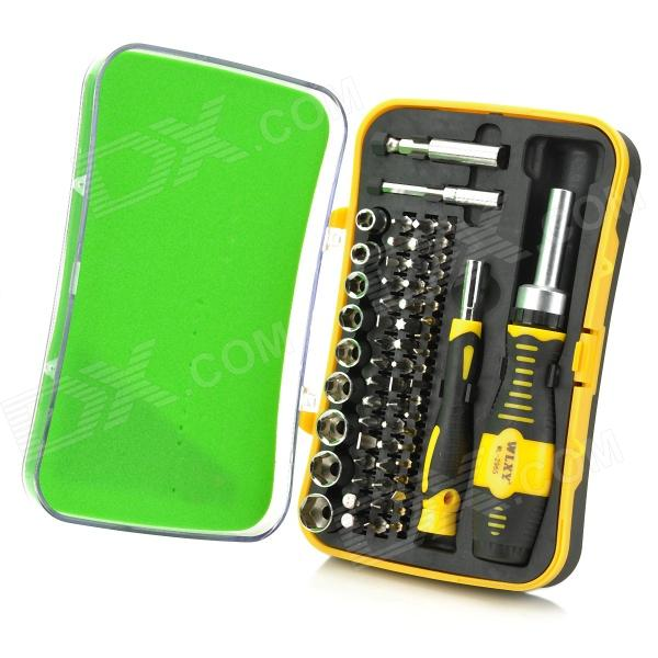RT-1665 65-in-1 Alloy Steel Screwdriver Tool Kit for Car Maintenance - Silver + Black + Yellow dmiotech 20 pcs spare part spring type electric drill motor carbon brushes 10mm 11mm 13mm 17mm 6mm 7 5mm 7mm