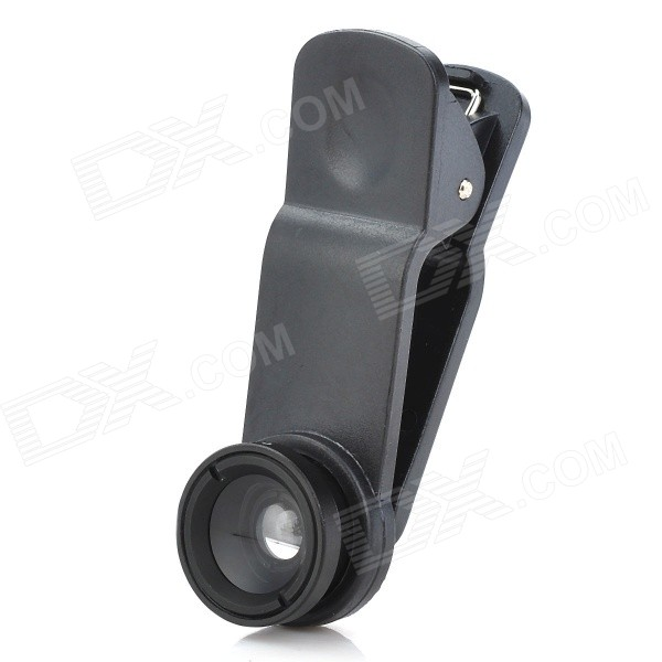 LieQi Universal Clip-On Wide Angle Lens + Macro Lens for Iphone / Cellphone + More - Black