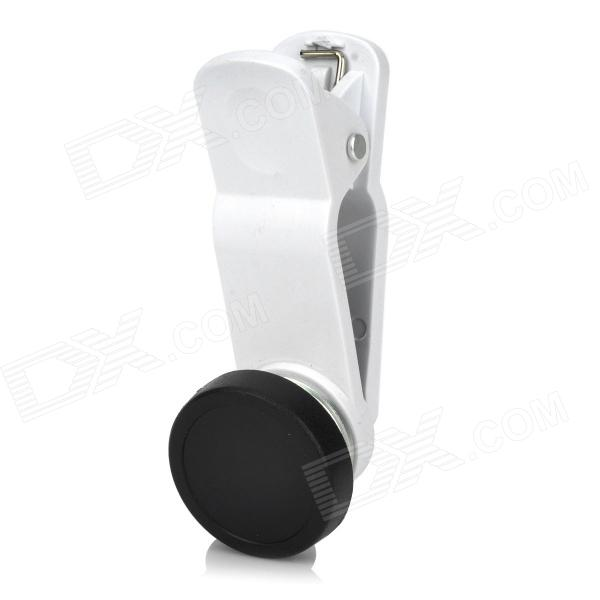 Lexiang Universal Clip-On Wide Angle Fish Eye Lens + Macro Lens for Iphone + More - White led fill in flash light wide angle macro lens for smartphone white