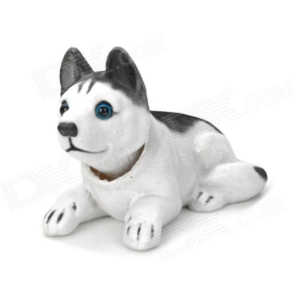 LT3362 Husky Style Car Decoration Display Shaking Dog Toy - White + Black head shaking cute cat style toy for car decoration deep grey