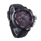 SuperSpeed ​​V6 V0165-BR Fashion Herren Quarz-Silikon-Band-Armbanduhr - Schwarz + Rot