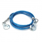 Car Steel Wire Pulling Rope w/ Hook - Blue + Silver (4m)
