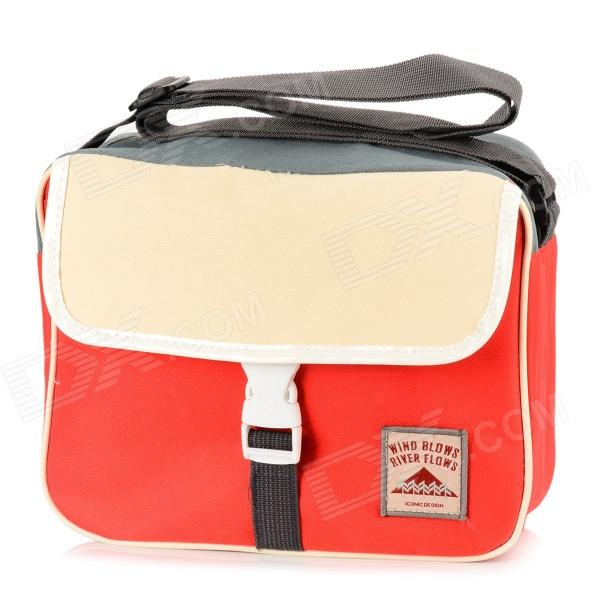 Water Resistant Multi-Functional Nylon Shoulder Bag - Red + White + Grey