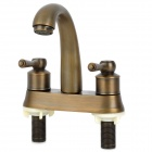 PHASAT 4304 Vintage Brass Dual Handle Dual Hole Kitchen Sink Faucet Water Tap - Antique Brass