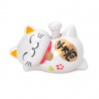 Lucky Cat Style Solar Hand-Shaking Car Decoration Display Model Toy - White