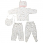 Yiyinger 2001 Baby Cotton Top Jacket + Bib + Trousers / Pants + Hat Clothing Set - White + Pink