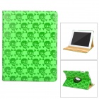 Skull Style Protective Rotation PU Leather Case for Ipad 2 / The New Ipad - Green