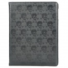 Skull Style Protective Rotation PU Leather Case for Ipad 2 / The New Ipad - Black