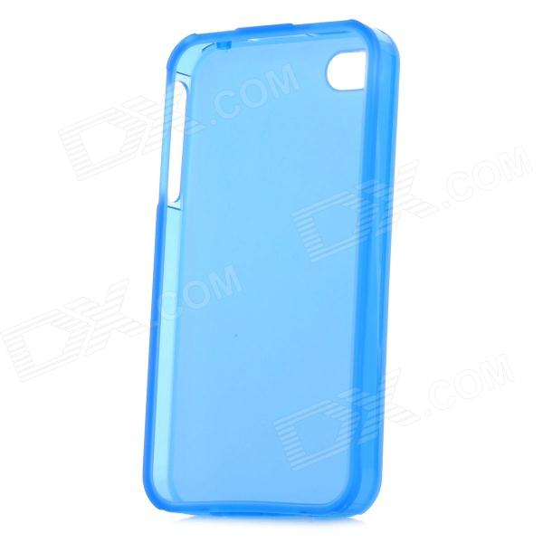 Protective TPU Back Case w/ Anti-Dust Cover for Iphone 4 / Iphone 4S - Translucent Blue