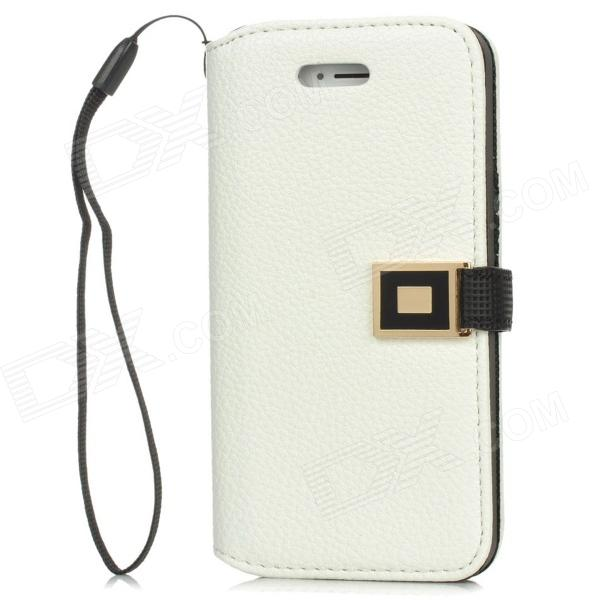 Stylish Protective PU Leather Case for Iphone 5 - White stylish protective pu leather case for iphone 5c white transparent black