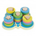 Cute Butterfly Intelligence Training Geometric Column Wooden Building Brick - Multicolor