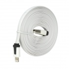 USB to 8-Pin Lightning Charging Flat Cable for iPhone 5 - White (3M)