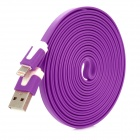 USB-zu-8-Pin Blitz Charging Flachbandkabel für iPhone 5 - Purple (300cm)