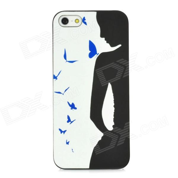 Glow-in-the-Dark Girl with Butterfly Style Protective PVC Back Case for Iphone 5 - Black + White glow in the dark skull pattern protective pvc back case for iphone 5 black pink blue green