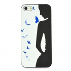 Glow-in-the-Dark Girl with Butterfly Style Protective PVC Back Case for Iphone 5 - Black + White