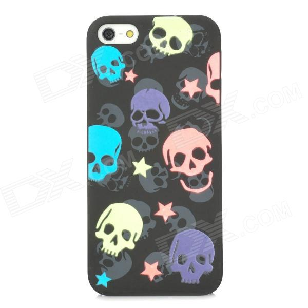 Glow-in-the-Dark Skull Pattern Protective PVC Back Case for Iphone 5 - Black + Pink + Blue + Green cute girl pattern protective rhinestone decoration back case for iphone 5 light pink light blue
