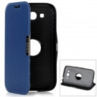 Protective PU Leather Case w/ 360 Degree Rotation Holder for Samsung i9082 - Sapphire Blue