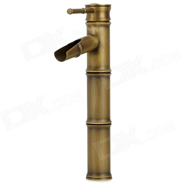 PHASAT 4311 Vintage Moso Bamboo Style Brass Hot / Cool Water Switch Sink Faucet Water Tap tall faucet retro style bathroom sink basin faucets hot and cold water taps antique brass single ceramics handle mixer tap