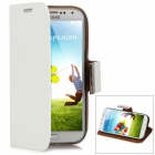 Elegant Protective PU Leather Case w/ Card Holder for Samsung Galaxy S4 i9500 - White