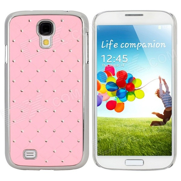 Stylish Crystal-inlaid Protective Plastic Back Case for Samsung S4 i9500 - Light Pink + Silver stylish crystal inlaid protective plastic back case for samsung s4 i9500 blueish green gray